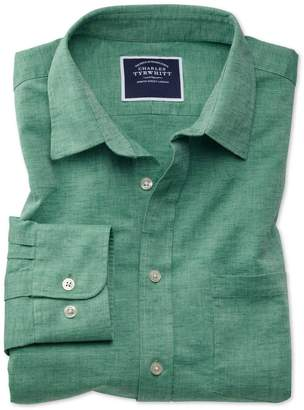 Charles Tyrwhitt Classic Fit Green Cotton Linen Cotton Linen Mix Casual Shirt Single Cuff Size Large