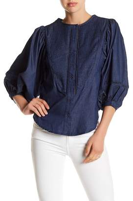 Gracia Puff Sleeve Chambray Blouse