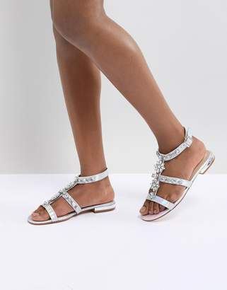 56dda2e33d3 Public Desire Strobe Silver Strap Embellished Sandals
