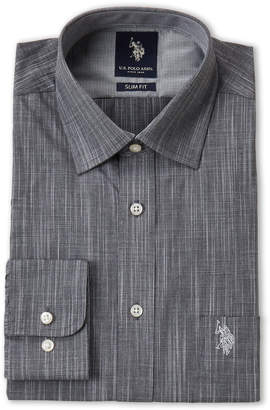 U.S. Polo Assn. Black Printed Slim Fit Dress Shirt