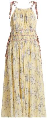 Rebecca Taylor Halterneck floral-print cotton-blend dress