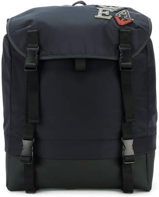 Emporio Armani embroidered patch detail backpack