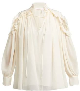 Chloé Ruffled Cut Out Shoulder Silk Blouse - Womens - Ivory