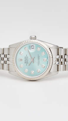 Rolex Pre-Owned Mid Size Ice Blue Diamond Dial, Fluted Bezel, Jubilee Band