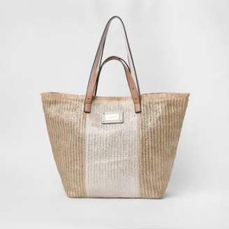 River Island Womens Gold woven oversized beach shopper