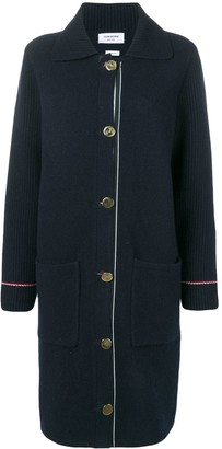 Thom Browne Duffle Coat In Overwashed Cashmere Blend With RWB TIpping Stripe