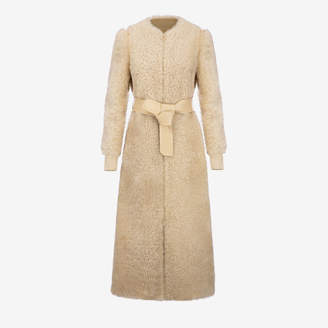 Bally Shearling Long Coat Brown, Women's shearling coat in ginger