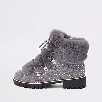 River Island Girls grey embellished faux fur lined boots