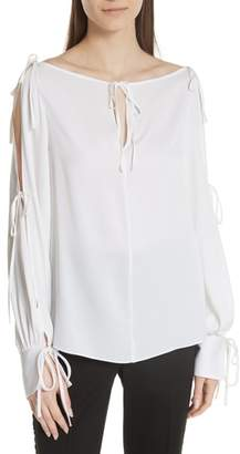 Milly Connie Stretch Cold Shoulder Silk Top