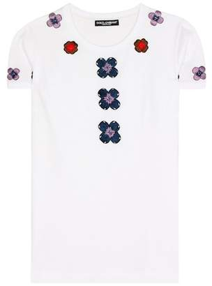 Dolce & Gabbana Exclusive to mytheresa.com – embellished appliqué cotton T-shirt