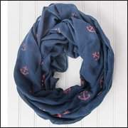 """Tickled Pink Anchors Away Infinity Scarf, 30"""" x 35"""" Loop, 35% Cotton; 65% Polyester, Multiple Colors"""