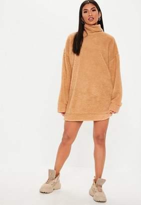 Missguided Tall Camel Teddy High Neck Sweatshirt Dress