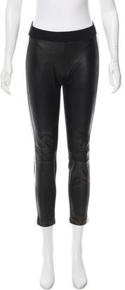 Sandro Leather-Paneled Skinny Leggings $145 thestylecure.com