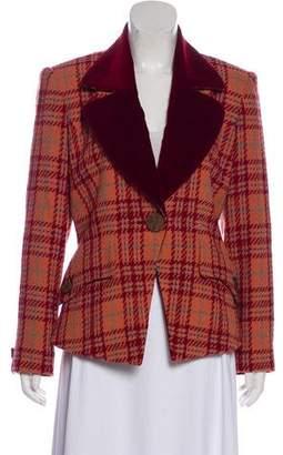 Pierre Balmain Velvet-Accented Tweed Blazer