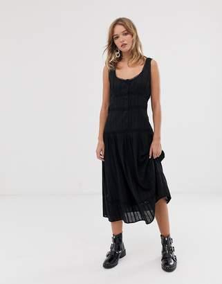 Asos Design DESIGN sleeveless lace insert midi dress with dropped waist