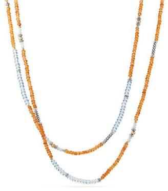 David Yurman Tweejoux Bead Necklace in Orange Chalcedony, Blue Topaz & Amazonite with 18K Gold