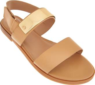 Halston H By H by Slingback Leather Flat Sandals - Haily