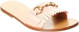 Gucci Leather Fringe Horsebit Slide Sandal