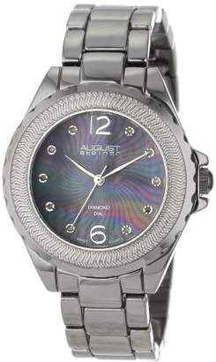 August Steiner Women's AS8064BK Genuine Diamond Mother-Of-Pearl Bracelet Watch
