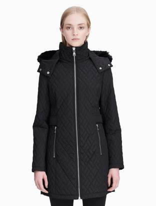 Calvin Klein faux fur hooded quilted jacket