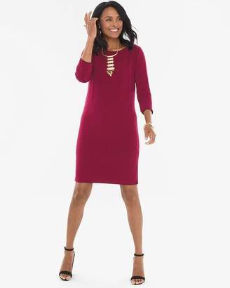 Chico's Chicos Solid Mulberry Red to Deep Merlot Dress