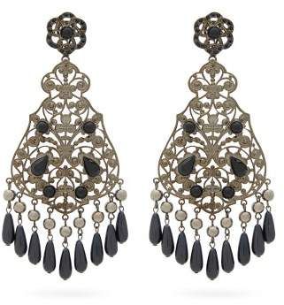 Etro Beaded Drop Earrings - Womens - Black