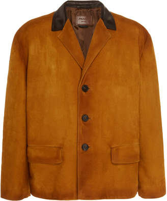 Leather-Trimmed Suede Jacket