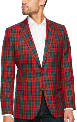 STAFFORD Stafford Tartan Red Green Classic Fit Sport Coat
