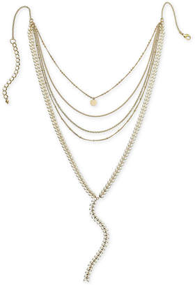 """INC International Concepts I.n.c. Gold-Tone Colored Stone Multi-Row Y Necklace, 12"""" + 3"""" extender, Created for Macy's"""