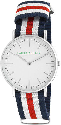 Laura Ashley Womens Blue White And Red Knitted Colored Band With Silver Ultra-Thin Case Watch La31016Rd $295 thestylecure.com
