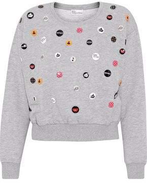 RED Valentino Button-Embellished Cotton-Blend Fleece Sweatshirt