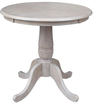INC International Concepts Solid Wood Round Pedestal Dining Table in Washed Gray Taupe