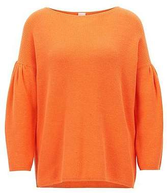 HUGO BOSS Boat-neck sweater with dropped shoulders and gathered sleeves