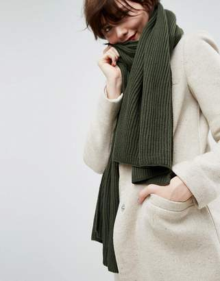 Asos Long Rib Knit Scarf In Recycled Polyester Mix
