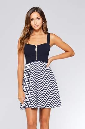 Quiz Navy And Cream Skater Dress