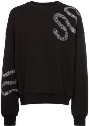 Amiri snake applique cotton sweatshirt
