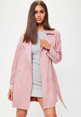 Pink Faux Suede Belted Trench Coat $95 thestylecure.com