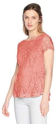 Adrianna Papell Women's Short Sleeve Peplum Lace Blouse