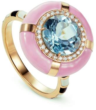 N. NeverNoT Show Tell - Ready to Celebrate Blue Topaz and Pink Enamel Ring