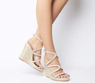 213b721d1aa Office Honeydew Glam Strappy Wedges Nude Diamante