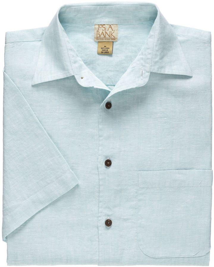 Jos. A. Bank VIP Linen Point Collar Short-Sleeve Solid Sportshirt Big/Tall