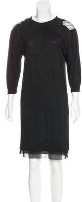 CNC Costume National Silk-Trimmed Knee-Length Dress