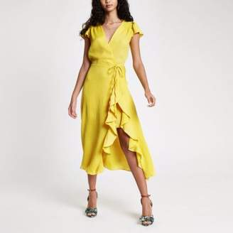 River Island Womens Yellow frill tie waist midi dress