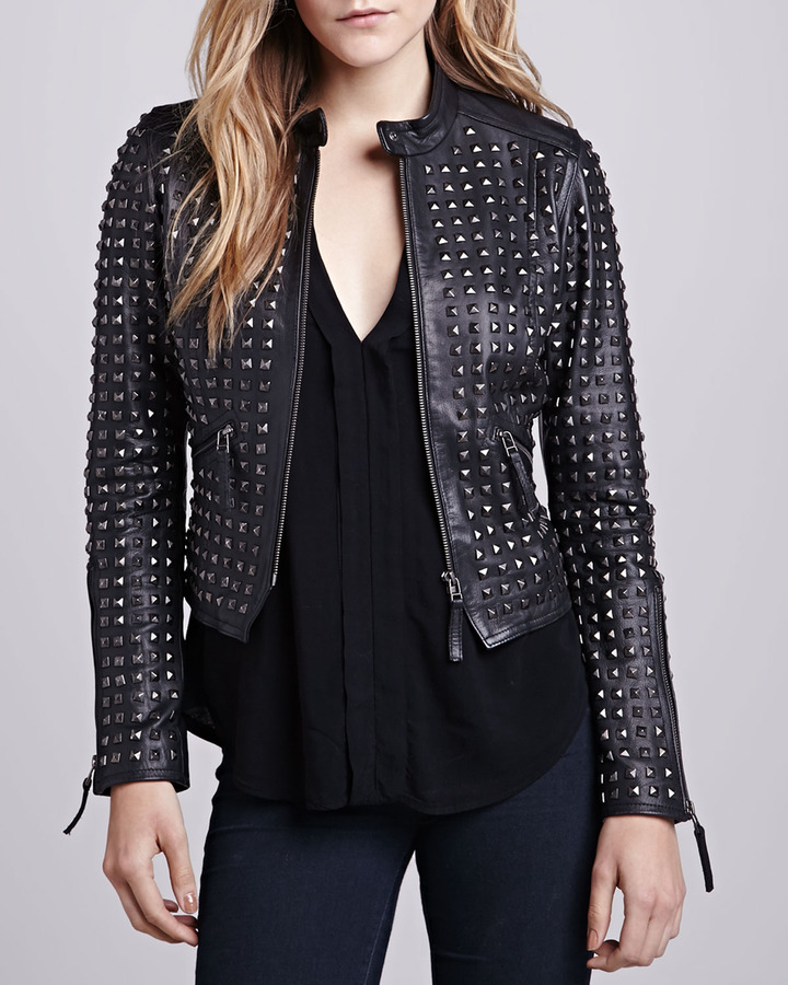 LaMarque Studded-Front Leather Jacket