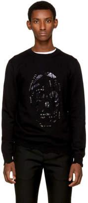 Alexander McQueen Black Distressed Pierced Skull Pullover