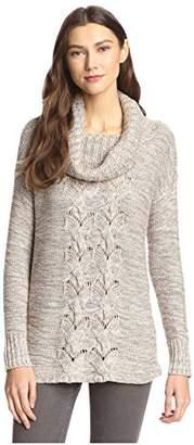 James & Erin Women's Tweed Cowl neck Sweater