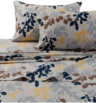 Tribeca Living Barcelona Leaf Printed Cotton Percale Extra Deep Pocket Cal King Sheet Set Bedding
