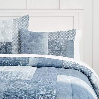 Pottery Barn Teen Lily Ashwell Denim Patchwork Quilt, Full/Queen, Blue Multi