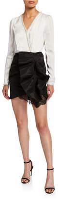 Self-Portrait Monochrome Long-Sleeve Short Ruffle Dress