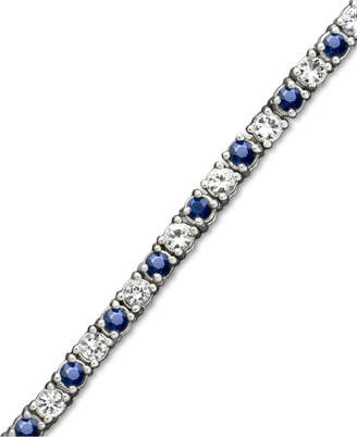 Macy's White Sapphire (2-3/4 ct. t.w.) and Sapphire (2-1/2 ct. t.w.) Bracelet in Sterling Silver